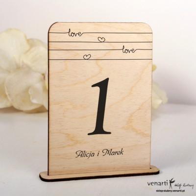 Love Ślubne drewniane numerki na stół