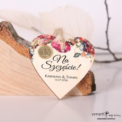 Kwiaty Ślubne drewniane zawieszki z grisikiem na szczęście