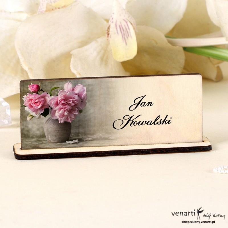 Kwiaty w wazonie Winietka ślubna drewniana