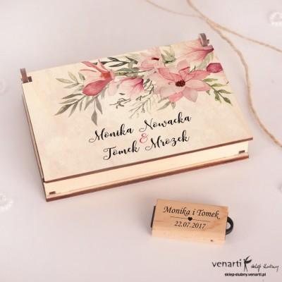 Magnolie Drewniany pendrive i etui