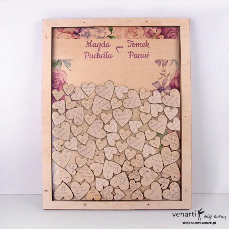 Kwiaty rustykal Księga gości duża rama z serduszkami
