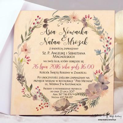 Kwiaty boho drewniane zaproszenia ślubne