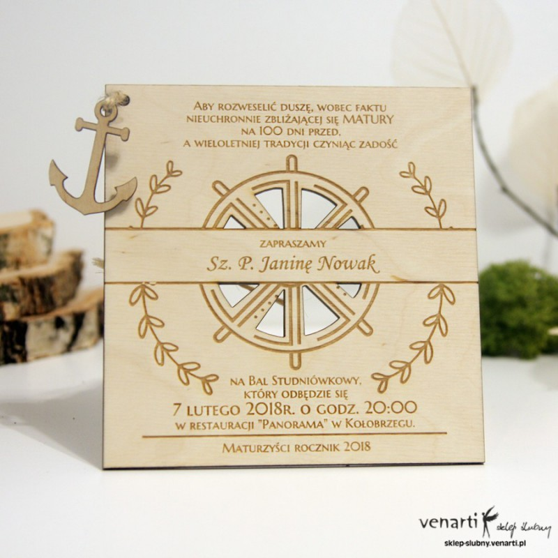 Morskie, drewniane zaproszenia ślubne Ster