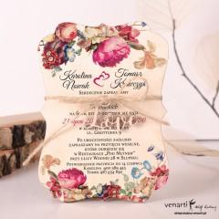 Drewniane zaproszenia ślubne kwiatowe