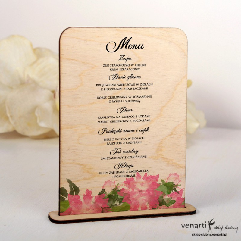 Kwiaty Drewniane menu ślubne