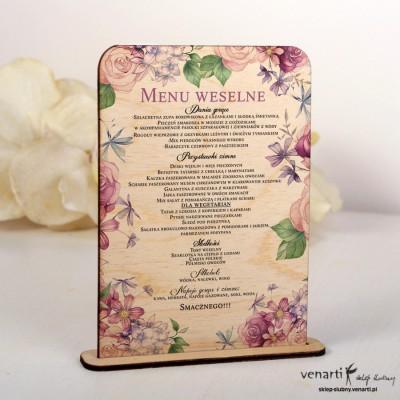 Kwiaty rustykal Drewniane menu ślubne