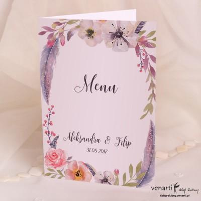Menu ślubne Boho kwiatowe