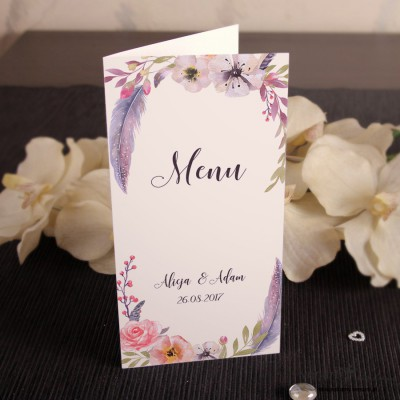 Boho kwiaty Menu weselne