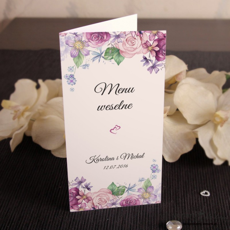 Kwiaty rustykal Menu ślubne