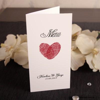Serca z odcisków Menu ślubne
