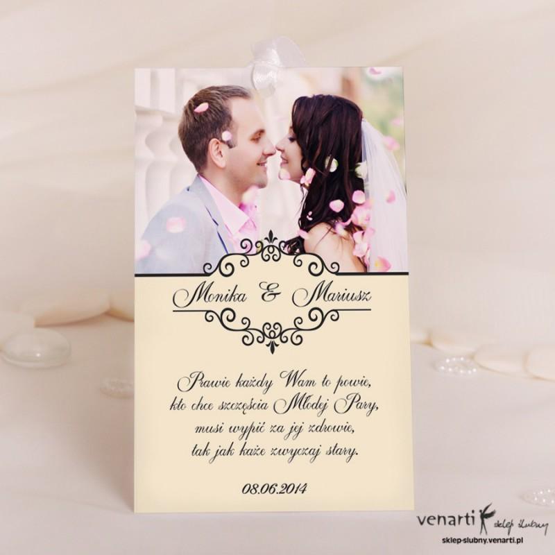 Ślubne zawieszki na wódkę ze zdjęciem