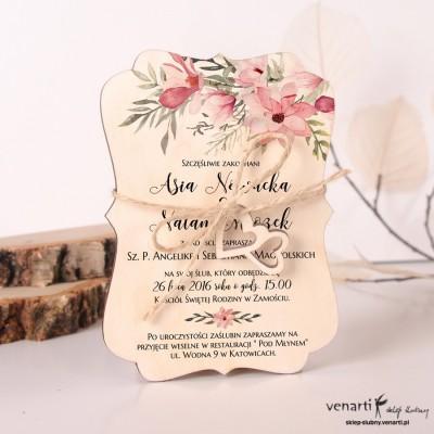 Drewniane zaproszenia ślubne Magnolia