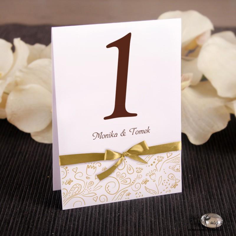 Ślubne numerki na stół Wstążka