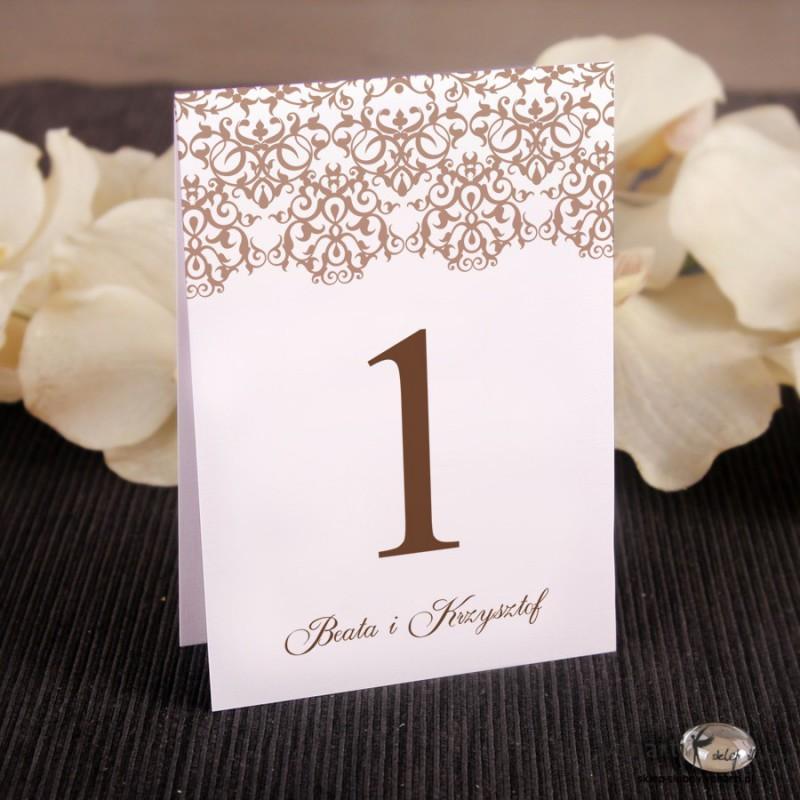 Ślubne numerki na stół Koronkowy wzór