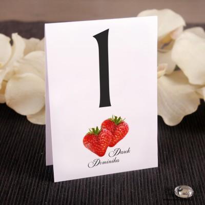 Ślubne numerki na stół Truskawka