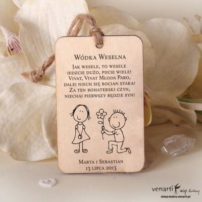 Młoda para Ślubne drewniane zawieszki
