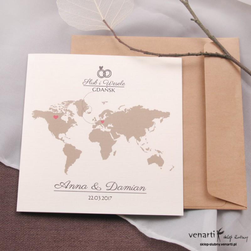 Zaproszenia ślubne Mapa świata