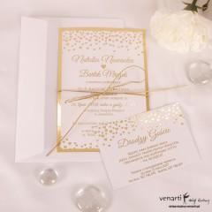 Zaproszenia ślubne złocone w serduszka