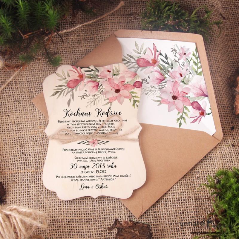 Drewniane Zaproszenie Dla Rodziców Magnolia 1809 Sklep ślubny