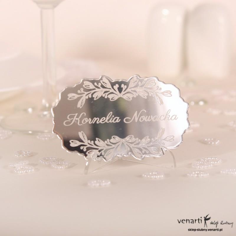 Winietki ślubne lustrzane z ornamentem