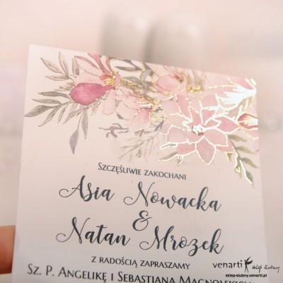 Zaproszenia ślubne złocone Magnolia
