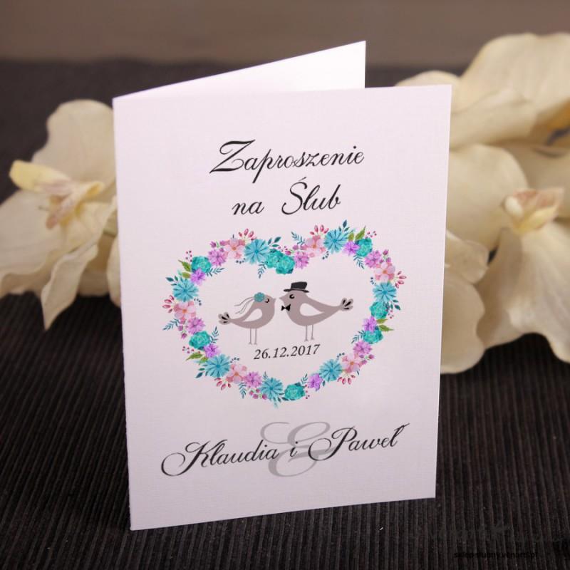 Zaproszenie ślubne ptaszki w sercu KP026