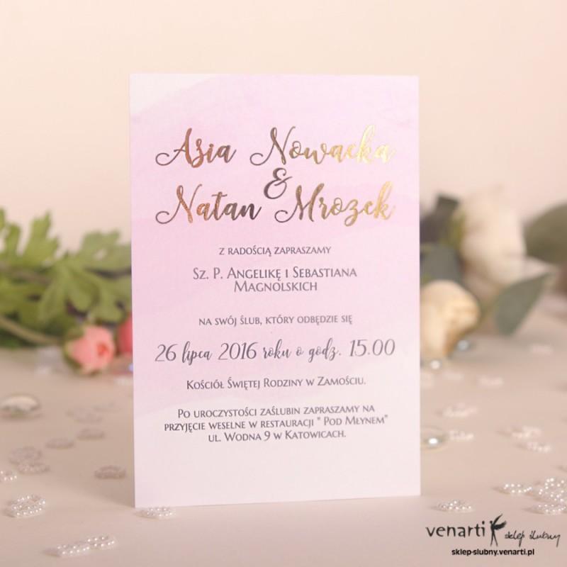 Zaproszenia ślubne złocone Lekki róż