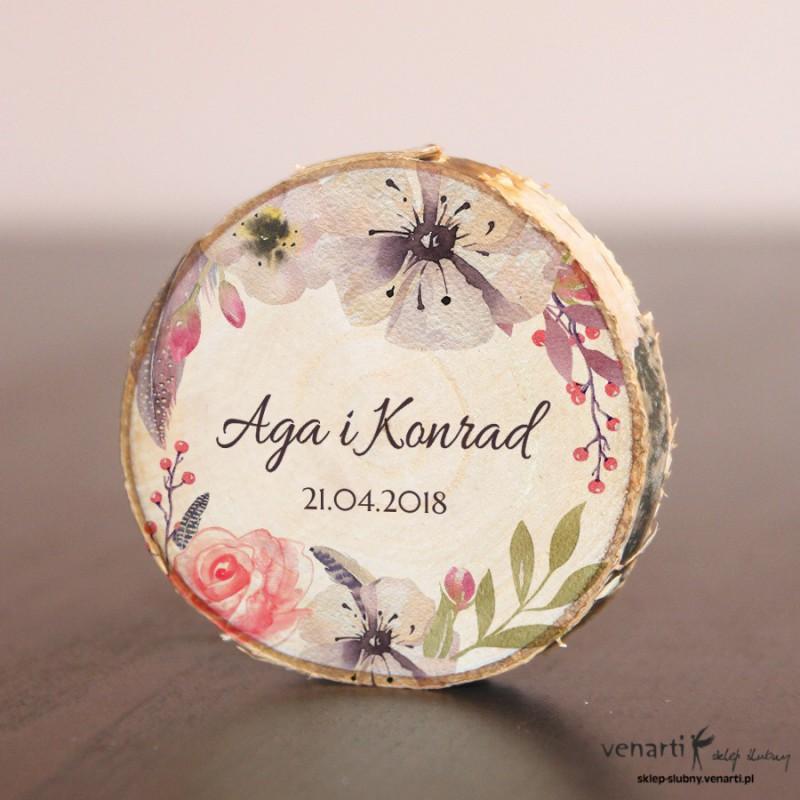 Ślubny magnes na lodówkę Plaster brzozy Boho kwiaty