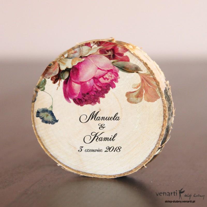 Ślubny magnes na lodówkę Plaster brzozy Eko kwiaty