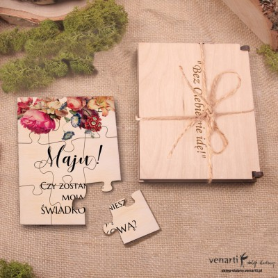 Eko kwiaty Świadkowanie, puzzle i pudełko drewniane: Czy zostaniesz moją świadkową?