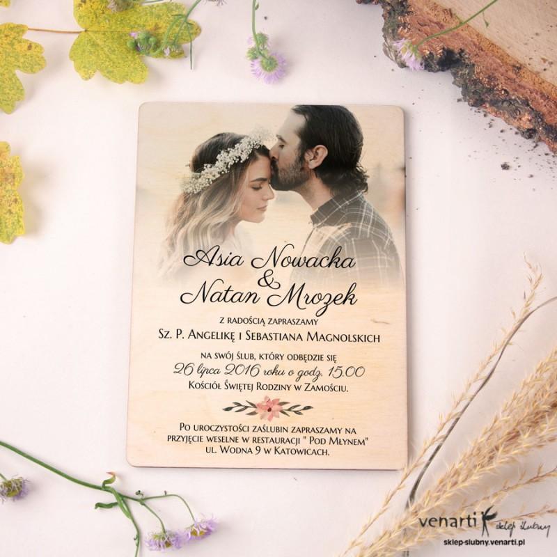 Drewniane Zaproszenia ślubne Ze Zdjęciem 1861 Sklep ślubny Venarti