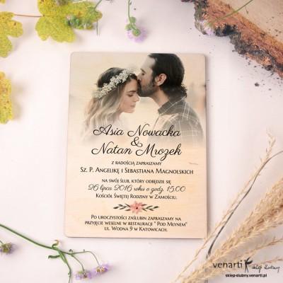 Drewniane zaproszenia ślubne ze zdjęciem