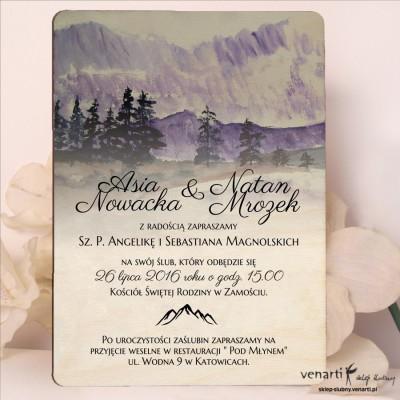 Drewniane zaproszenia ślubne Góry