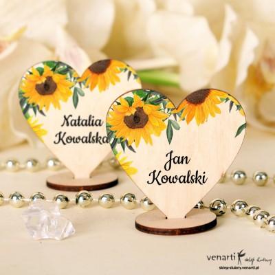 Słoneczniki Winietki drewniane ślubne w kształcie serca
