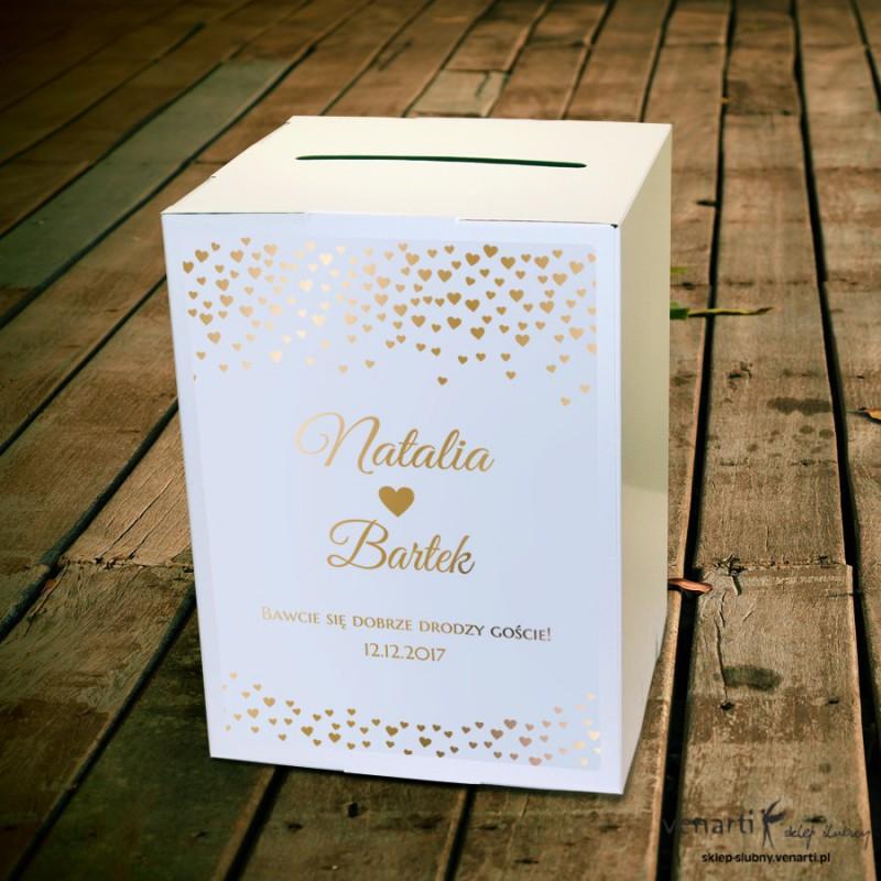 Złocone serduszka Pudełko na koperty