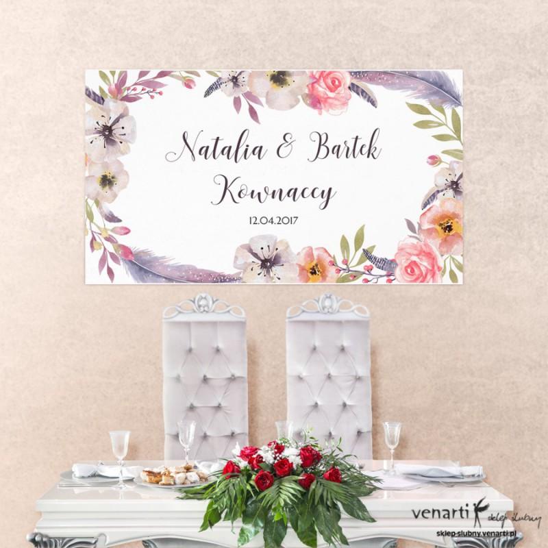 Baner ślubny Kwiaty boho