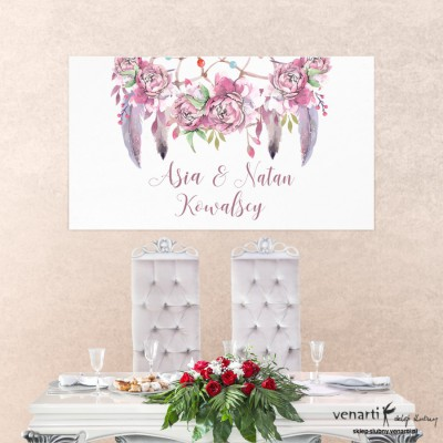Baner ślubny Różowe boho