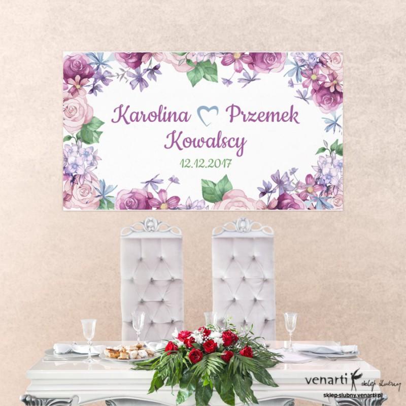 Baner ślubny Rusykalne kwiaty