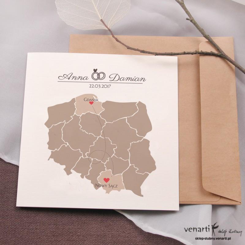 Zaproszenia ślubne Mapa Polski 1889 Sklep ślubny Venarti