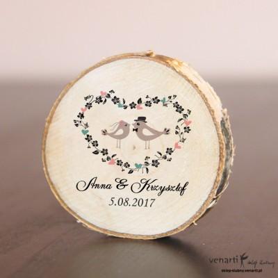Ślubny magnes na lodówkę Plaster brzozy Ptaszki w sercu