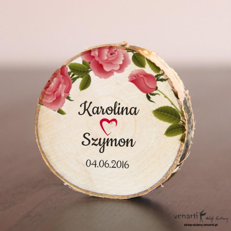 Róże Ślubny magnes na lodówkę Plaster brzozy