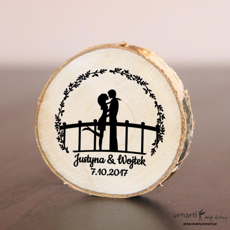 Para na mostku Ślubny magnes na lodówkę Plaster brzozy