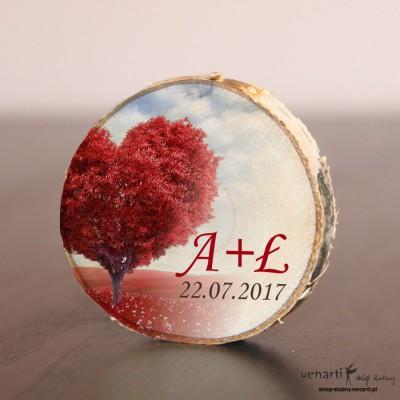 Drzewo serce Ślubny magnes na lodówkę Plaster brzozy