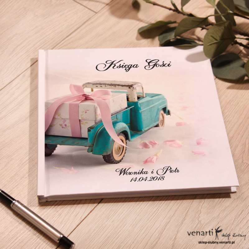 Auto z prezentem Ślubny, biały album, księga gości