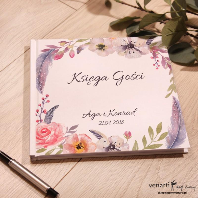 Kwiaty boho Ślubny, biały album, księga gości