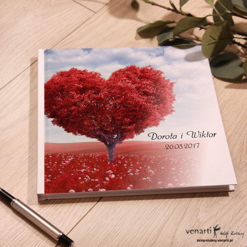 Drzewo w kształcie serca Ślubny, biały album, księga gości