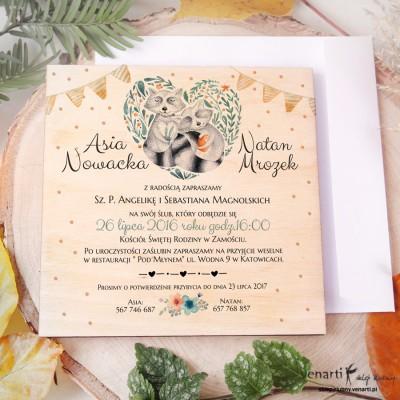 Szopy w sercu, drewniane zaproszenia ślubne