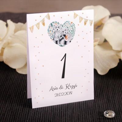 Szopy w sercu Ślubne numerki na stół