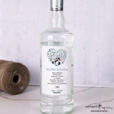 Szopy w sercu Ślubne etykiety na alkohol