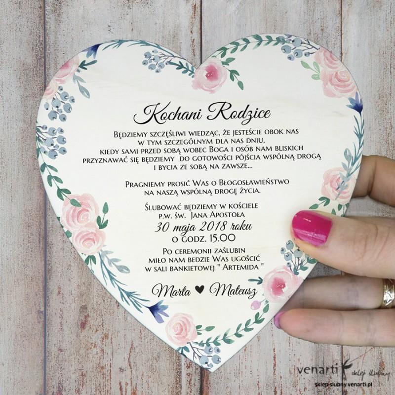 Różyczki Drewniane zaproszenie dla Rodziców